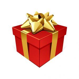 Červený zabalený darček